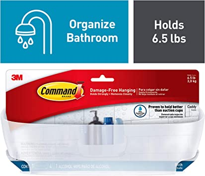 Frosted Command BATH11-ES Shower Caddy with Water-Resistant Strips Large