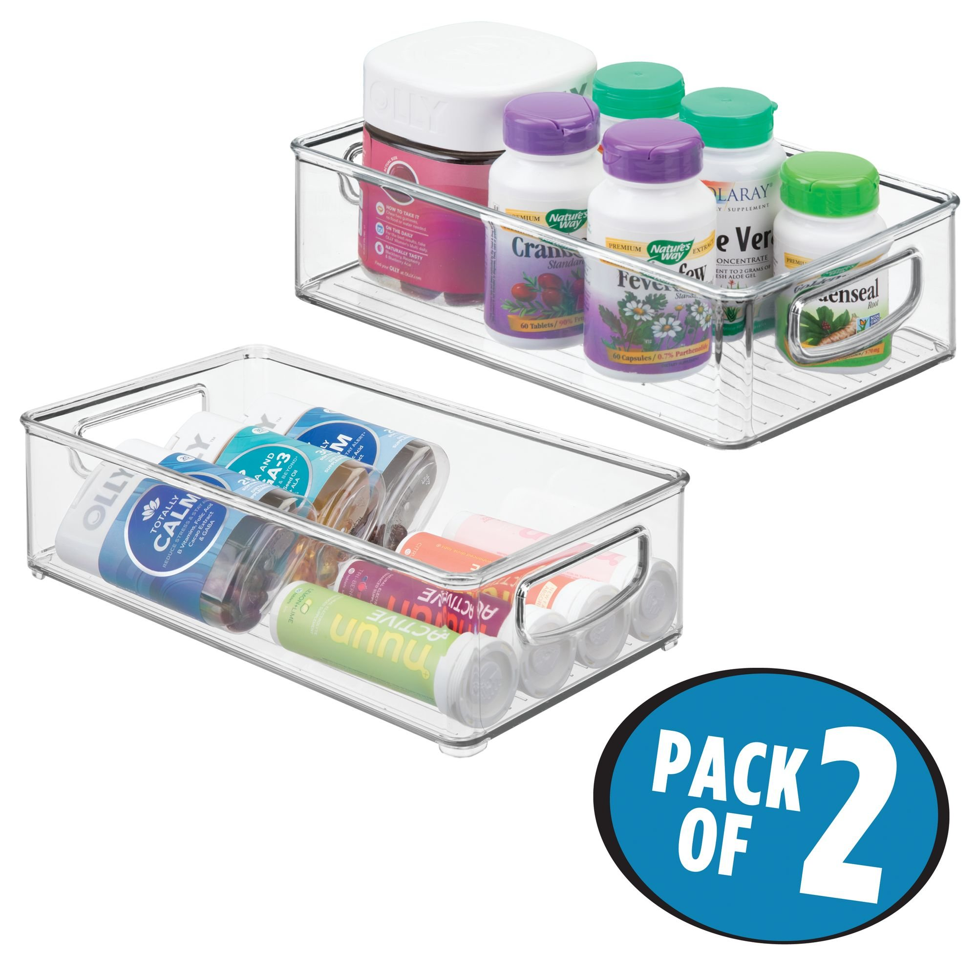 mDesign Stackable Storage Organizer Bin Tray with Built-in Handles - Holds Vitamins, Supplements, Serums, Essential Oils, Medical Supplies, First Aid Supplies - 3'' High - Pack of 2, Clear by mDesign (Image #2)