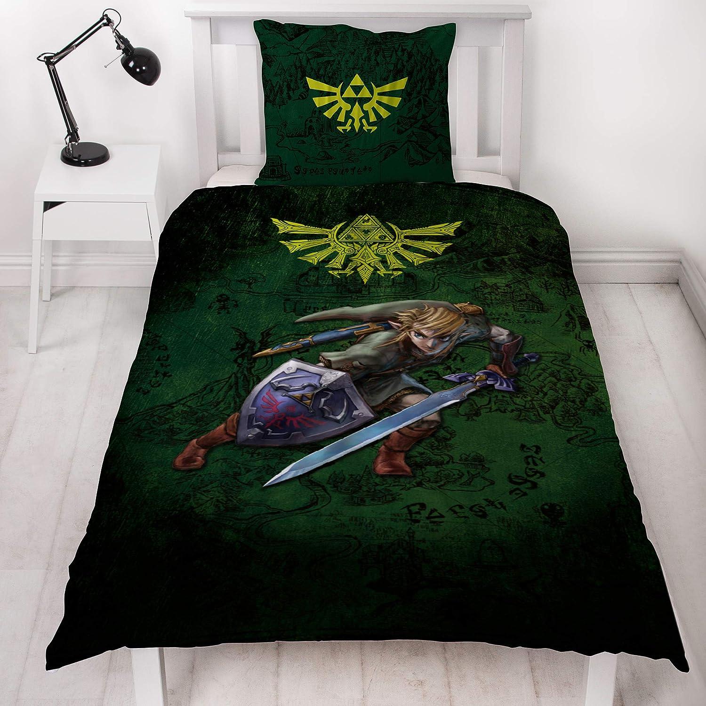 BERONAGE The Legend of Zelda Parure de lit r/éversible en linon 100/% Coton renforc/é avec Logo Link et Logo Triforce 2 Motifs allemands 135 x 200 cm 80 x 80 cm