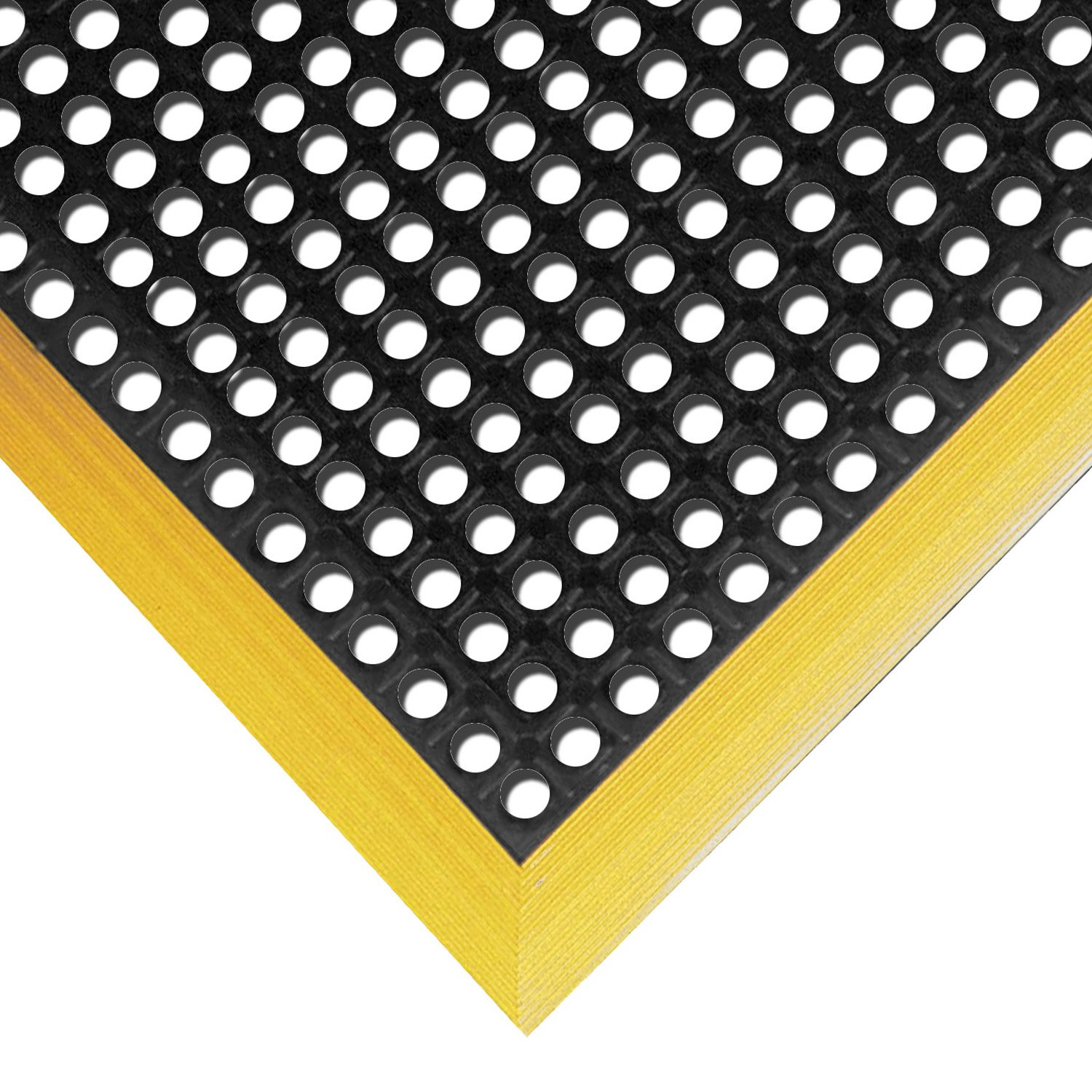 NoTrax Rubber 549 Safety Stance Anti-Fatigue Drainage Mat, for Wet Areas, 38'' Width x 64'' Length x 7/8'' Thickness, Black / Yellow