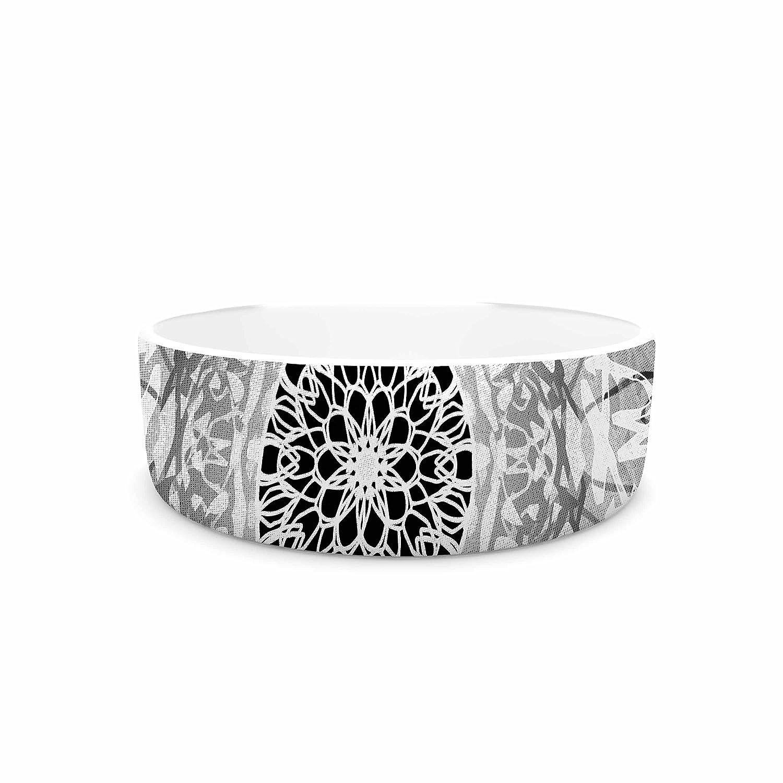 KESS InHouse Nina May Tie-Dye Mandala Jain Black White Illustration Pet Bowl, 7  Diameter