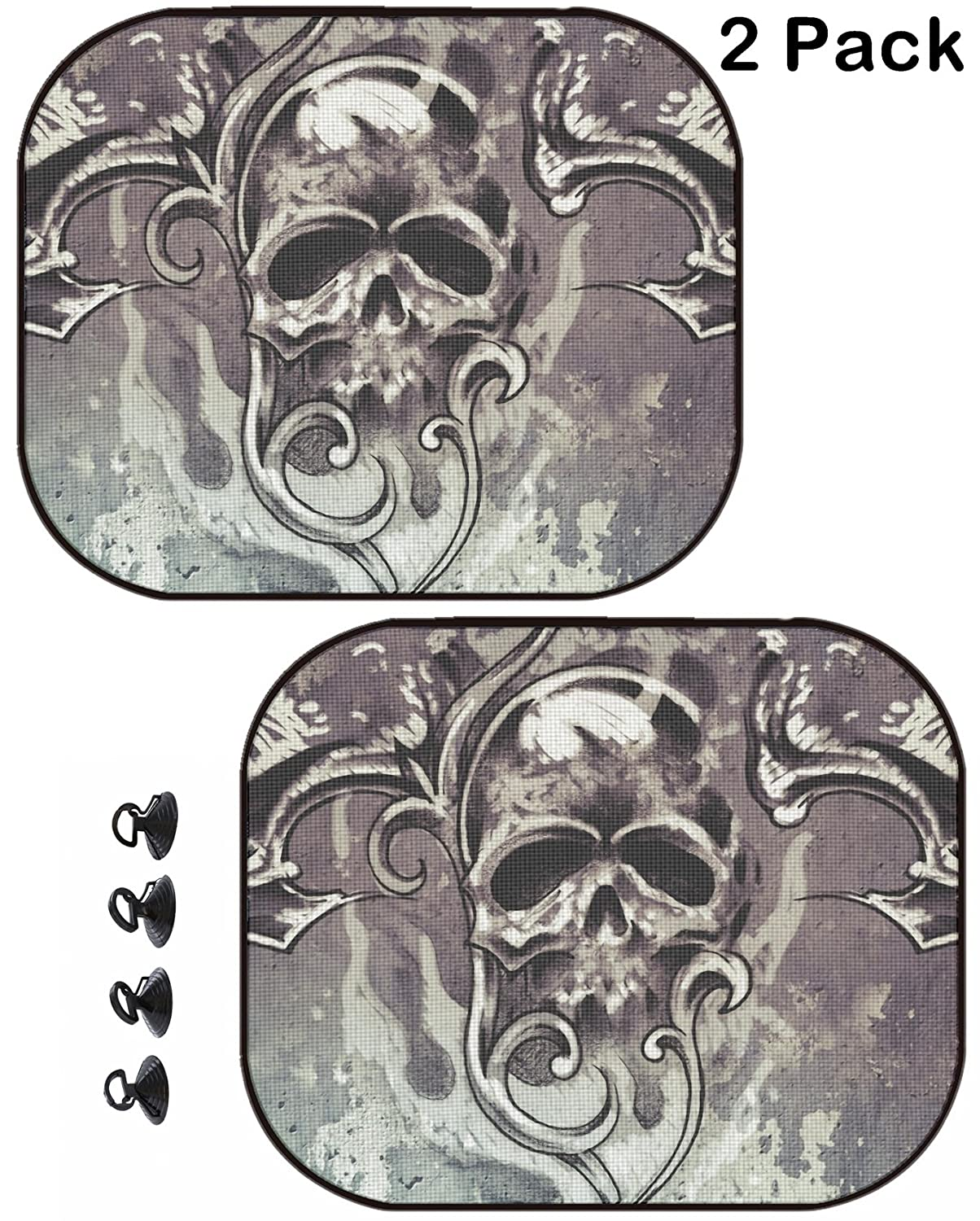 2 Pack Image ID 14881049 Skull on The Abstract Background MSD Car Sun Shade Protector Side Window Block Damaging UV Rays Sunlight Heat for All Vehicles