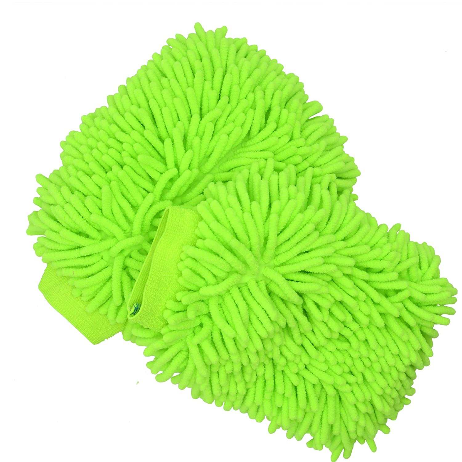 2 Pack Microfiber Car Wash Gloves, YSLF Microfiber Chenille Car Wash Mitt Car Wash Mop for Car Cleaning