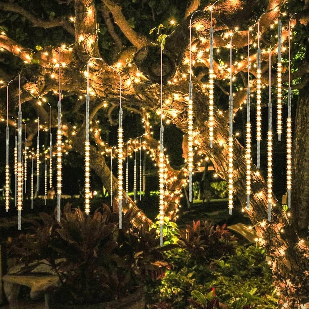 LED Falling Meteor Shower Lights Rain Icicle Christmas Outdoor Garden Tree Decor