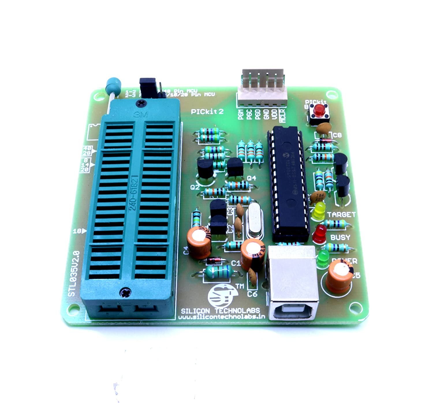 Silicon Technolabs Pickit2 Pic Microcontroller Usb Atmel 8051 Flash Based Programmer Electronic Electronics