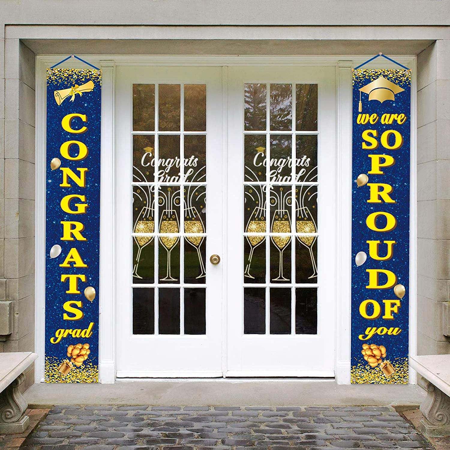 WENWELL Gold and Royal Blue Congrats Graduation Porch Banner Decorations for Class of 2021,College Door Hanging Ornament,Grad Party Yard Sign,Home Decor for Outdoor Indoor
