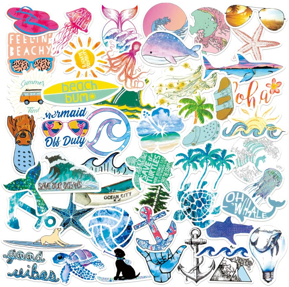 Ocean Stickers | 50 PCS | pura vida Vinyl Waterproof Stickers for Laptop,Skateboard,Water Bottles,Computer,Phone, Outdoor Adventure Stickers (Beach Surfing 50Pcs)