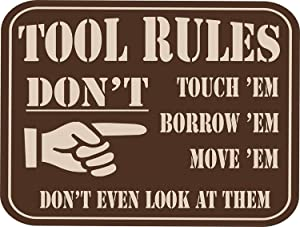 "Inventive Enterprises LLC Tool Rules Vintage Wall Decor w/Funny Quote, Unique Metal Wall Decor for Home, Bar, Pub, or Man Cave 12""x8"" Metal Tin Signs, Funny Bar Signs, Vintage Signs"