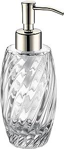 SUCASA Glass Soap Dispener,Liquid Soap Dispenser Chrome Stainless Steel Pump Head Designed 10 Ounce Glass Jar for Bathroom Countertop Hand Soap Shampoo Shower Gel