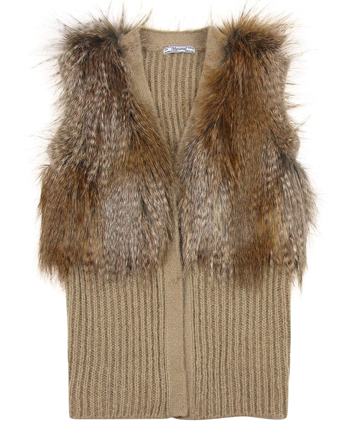Mayoral Junior Girl's Rib Knit and Fur Vest, Sizes 8-16