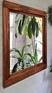Farmhouse Framed Wall Mirror, 20 Stain Colors - Large Wall Mirror, Bathroom Vanity Mirror, Framed Wood Mirror, Wall Mirrors for Living Room, Wall Mirror Decorative, Rustic Home Wal Decor