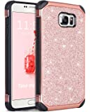 Galaxy Note 5 Case, Note 5 Case, BENTOBEN 2 in 1 Glitter Luxury Bling Hybrid Hard Cover Laminated with Sparkly Shiny Faux Leather Shockproof Bumper Protective Case for Samsung Galaxy Note 5, Rose Gold