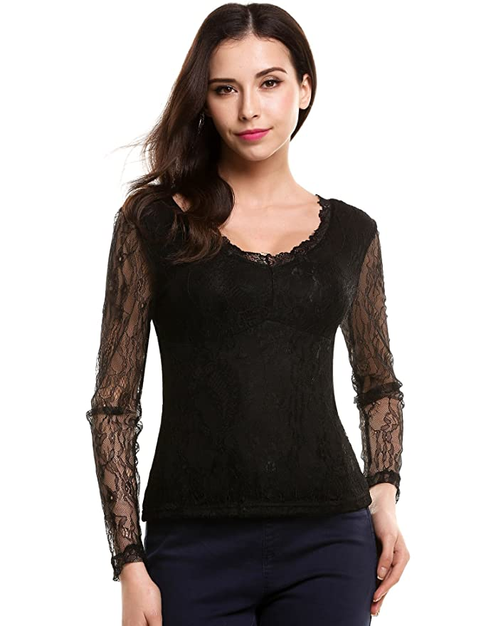 ANGVNS Womens Floral Lace Double V-Neck Long Sleeve Blouse T Shirt Casual Lace Tops at Amazon Womens Clothing store: