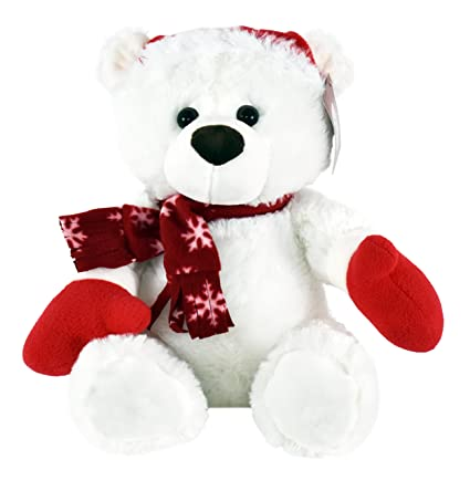 Christmas Bear.Kinrex Stuffed Animal Plush Teddy Bear Extra Soft Christmas White Teddy Bear With Santa Hat And Scarf Great Gifts For Kids And Adults 11 81 30