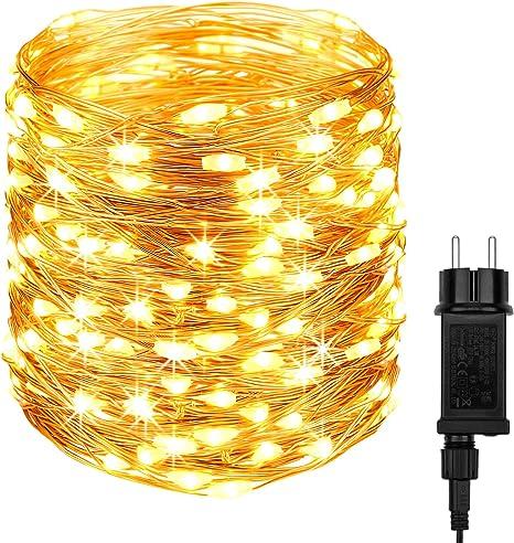 DeepDream LED Lichterkette,20M 200LEDs Lichterkette Kupferdraht IP65 Wasserdicht,Strombetrieben mit EU-Stecker Lichterketten f/ür Innen Au/ßen Weihnachten Partys Garten Hochzeiten,Warmwei/ß