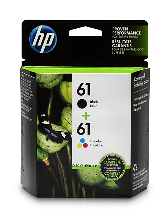 Amazon com hp 61 black ink cartridge ch561wn hp 61 tri color ink cartridge ch562wn 2 ink cartridges cr259fn office products