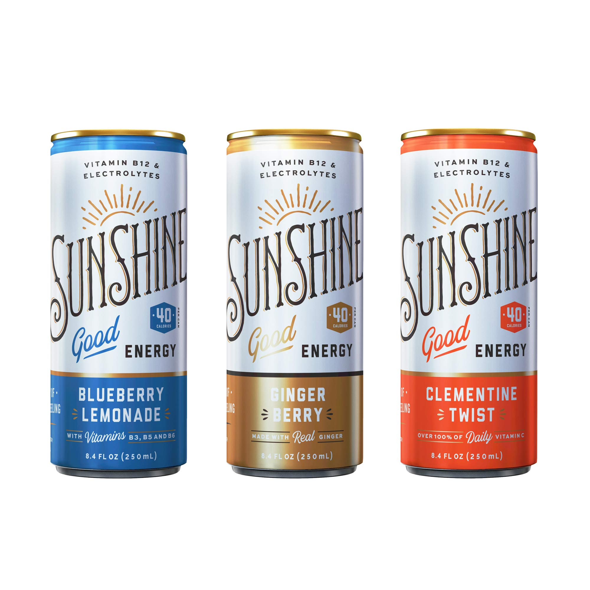 Sunshine Good Energy Drink, Variety Pack, 8.4 oz (Pack of 24), Organic Caffeine and Natural Flavors by Legendary Sunshine