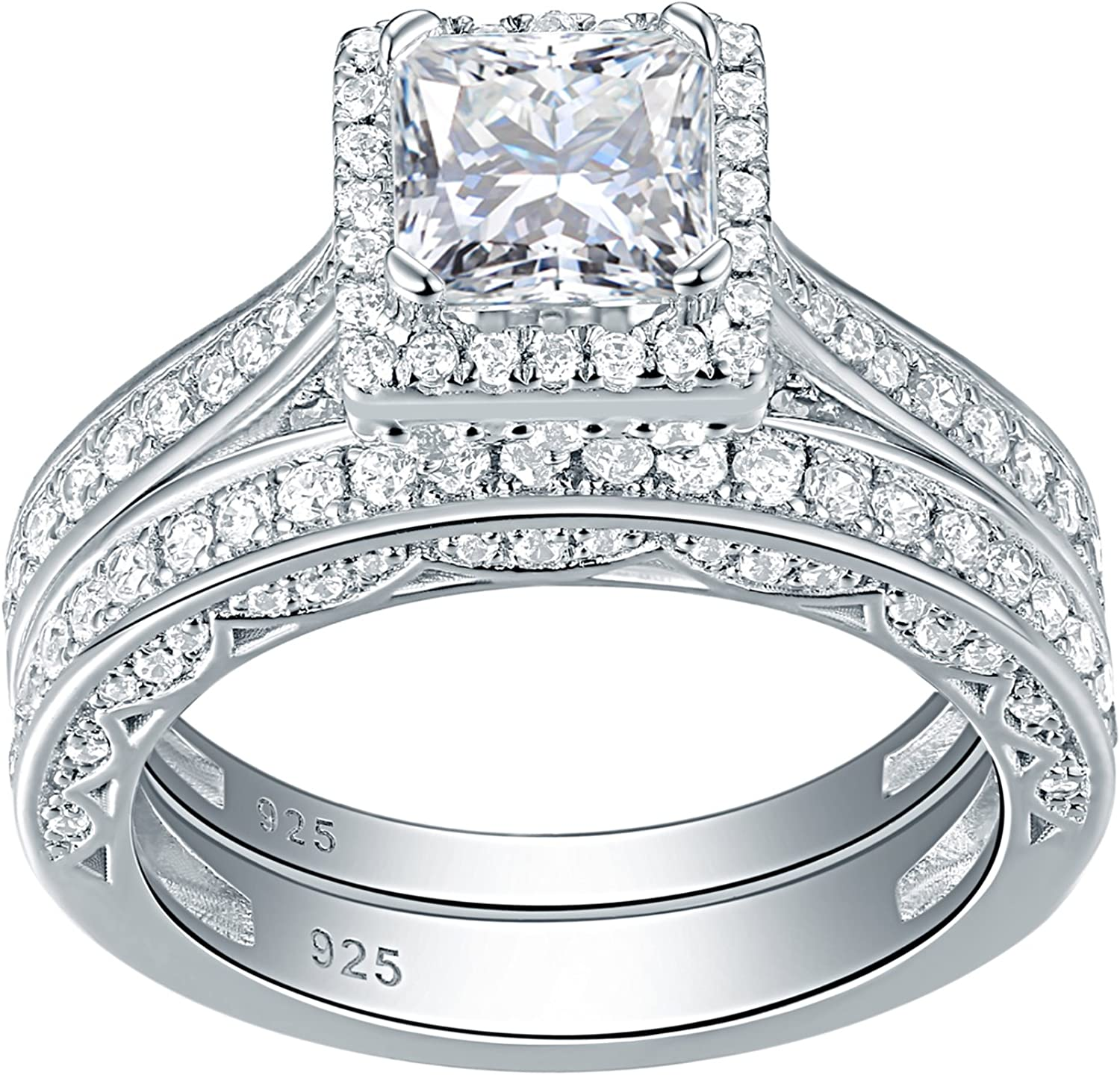 Amazon Com Newshe Engagement Wedding Ring Set For Women 925 Sterling Silver 1 5ct Princess White Aaa Cz Sz 5 12 Jewelry