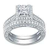 Amazon Price History for:Newshe Woman 1.5ct Princess White AAA Cz 925 Sterling Silver Wedding Engagement Ring Set Size 5-10