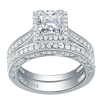 Women Wedding Rings.Newshe Engagement Wedding Ring Set For Women 925 Sterling Silver 1 5ct Princess White Aaa Cz Sz 5 12