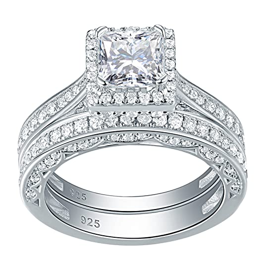 Amazon.com: Newshe Woman 1.5ct Princess White AAA Cz 925 Sterling Silver Wedding Engagement Ring Set Size 5-10: Jewelry