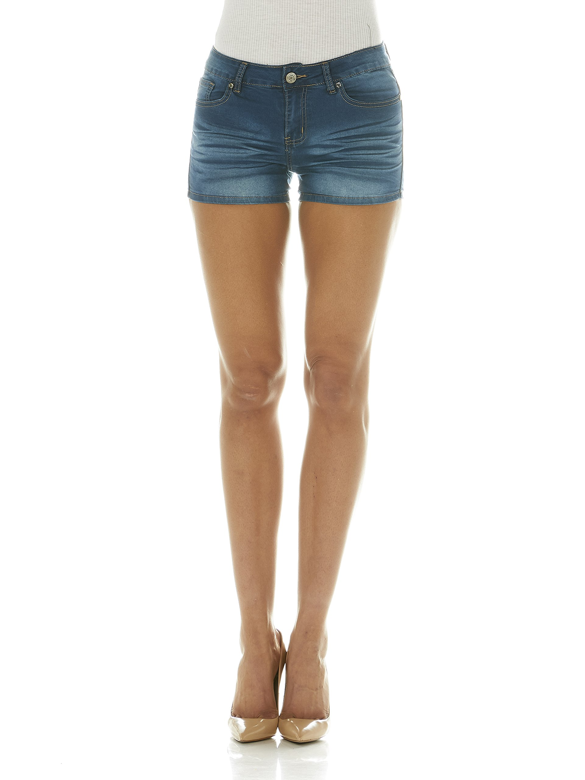 Cover Girl Jeans Women's Denim Shorts Mid Rise Blue Washes with Stretch Size 9 Vintage Blue (1.5'' Inseam)
