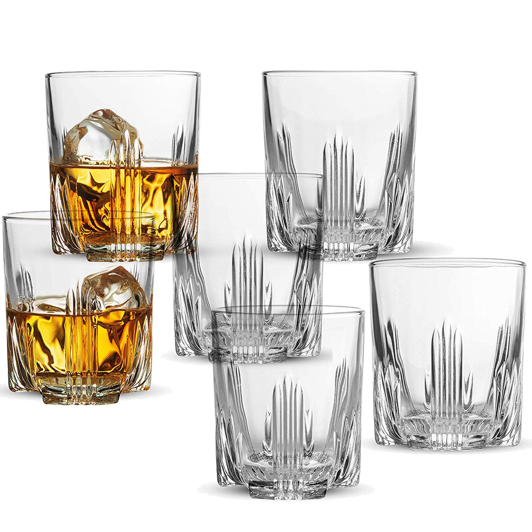 Whiskey Glass Set, Italian Crafted Whiskey Glasses 6 piece Exquisite Cocktail Glasses For Whiskey, Bourbon, Scotch, Cocktails Alcohol, Etc. | 9.5 Oz. Drinking Glasses (6 Whiskey Glasses) by Paksh Novelty