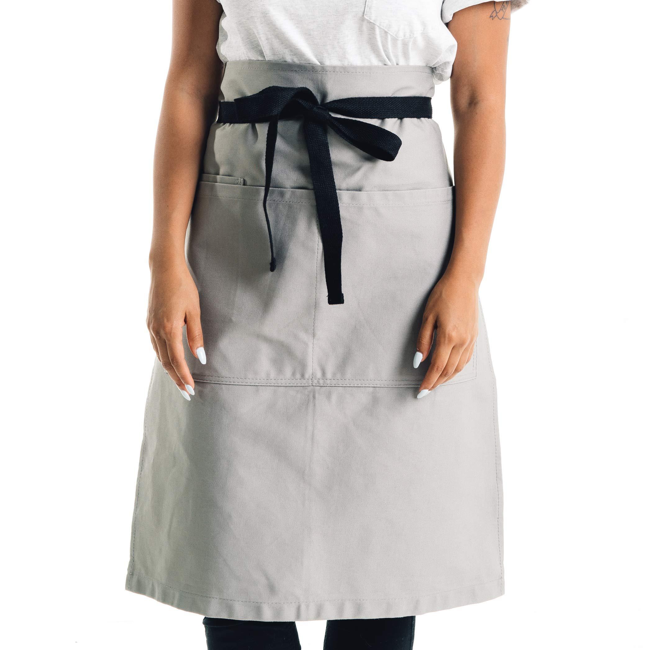 Caldo Cotton Bistro Apron - 3 Pockets, Tall Length 23 x 27 with 40 Inch Waist Ties - Unisex Uniform for Server, Waiter, Waitress, Coffee Shop, Cafe, Bartender, Catering (Grey) by Caldo