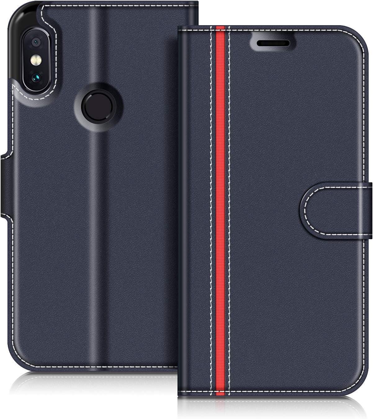 COODIO Funda Xiaomi Redmi Note 5 con Tapa, Funda Movil Xiaomi Redmi Note 5, Funda Libro Xiaomi Note 5 Carcasa Magnético Funda para Xiaomi Redmi Note 5, Azul Oscuro/Rojo