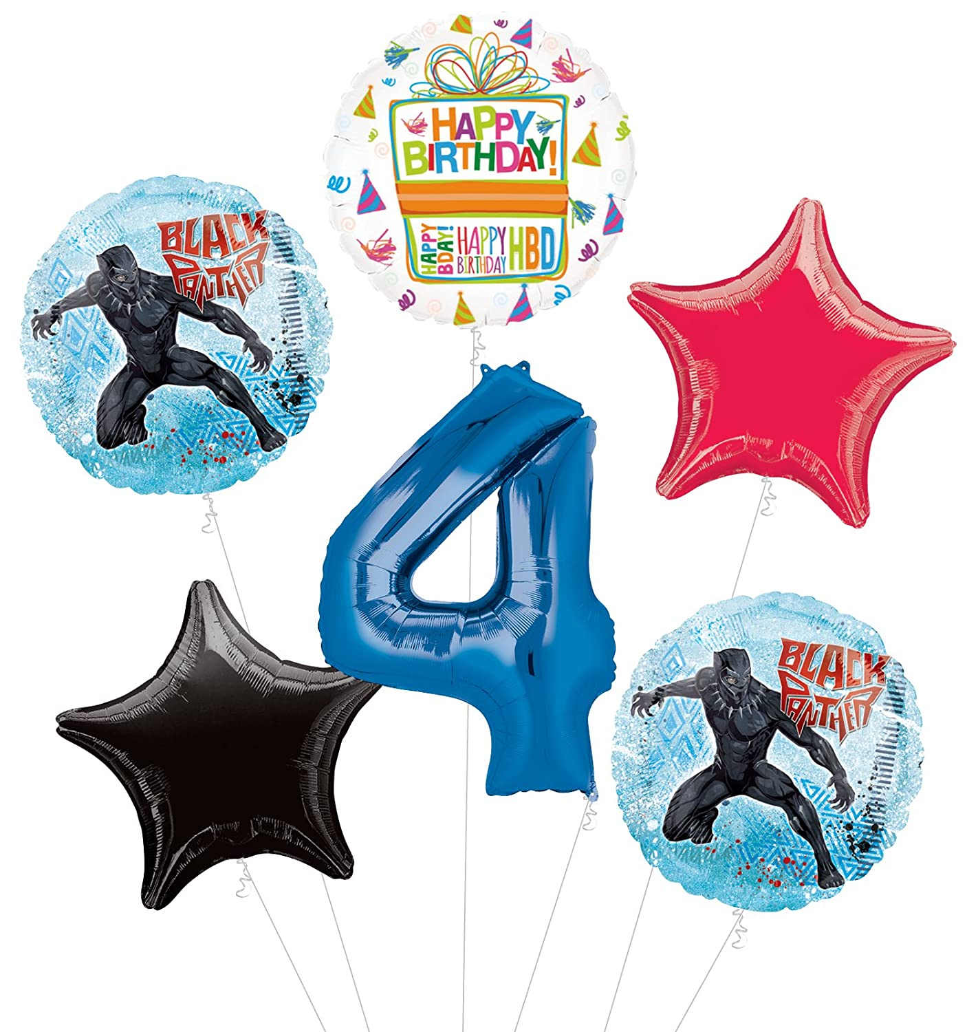 Black Panther 4th Birthday Party Supplies Balloon Bouquet Decorations by Mayflower