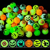 NEWBEA 72 Halloween Theme Designs Bouncing Balls - Glow in The Dark Bouncy Party Favors Supplies for Kids, Trick or…