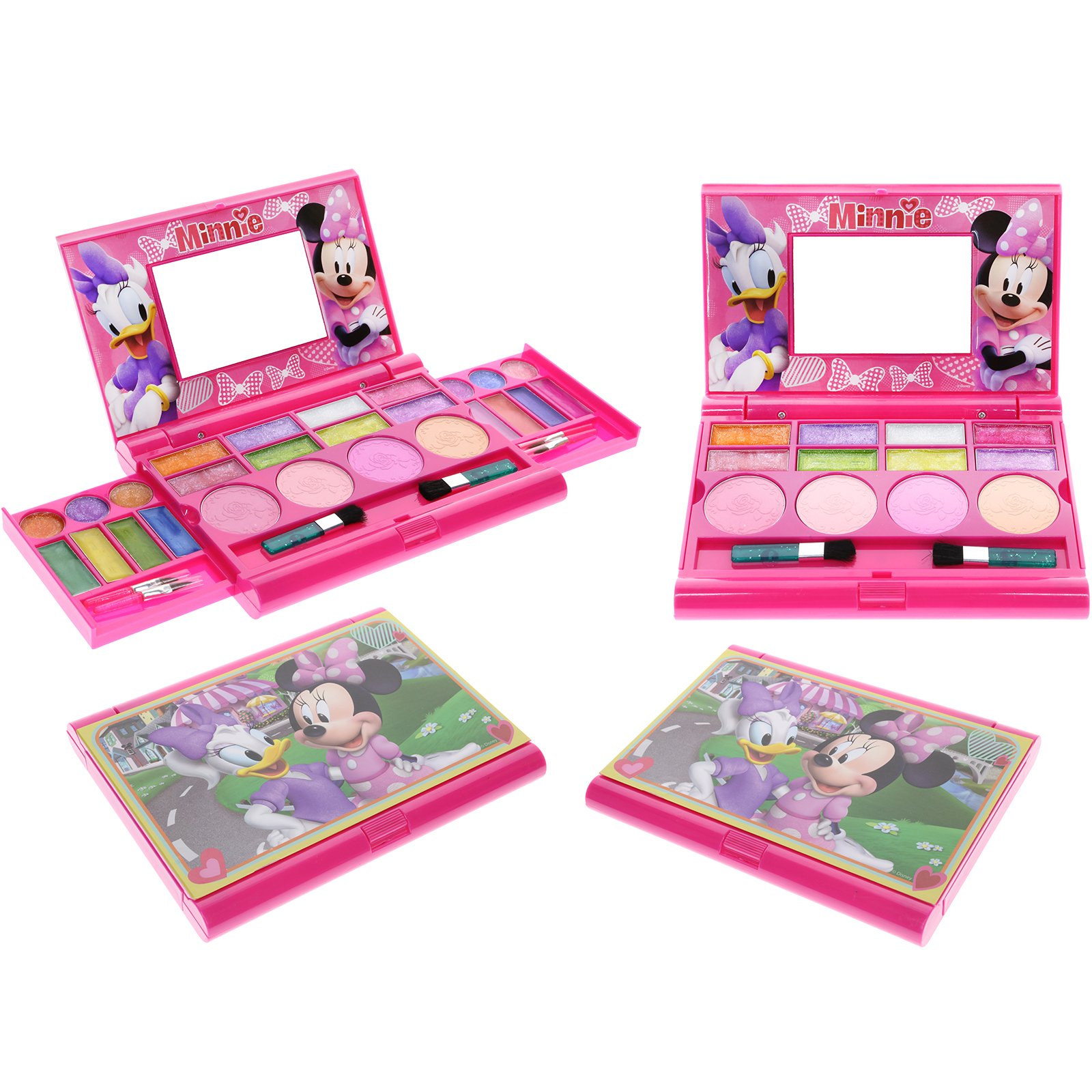 Townley Girl Disney Minnie Mouse Super Sparkly Cosmetic Set for Girls, 22 Lip glosses, 4 blushes in Mirrored case by Townley Girl