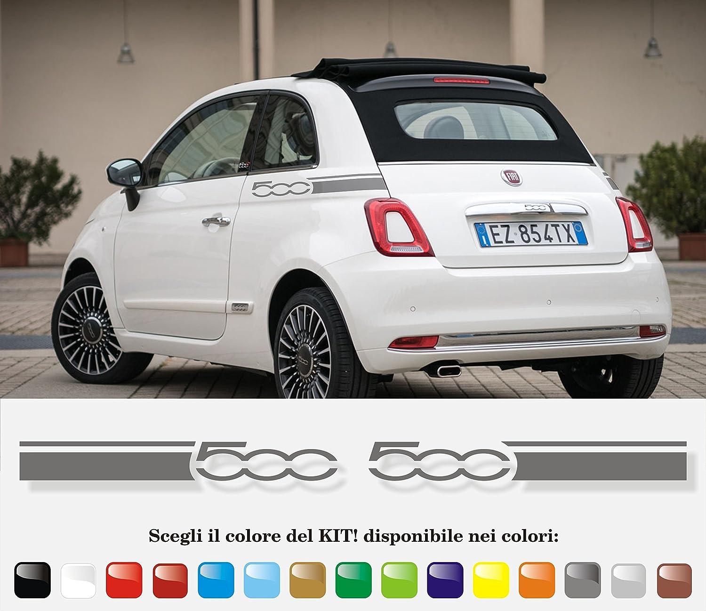 Lollomoto Strisce Scritta Fiat 500 Tagliata Adesivi Stickers Fiancate Auto Strip Decal Rosso Lucido