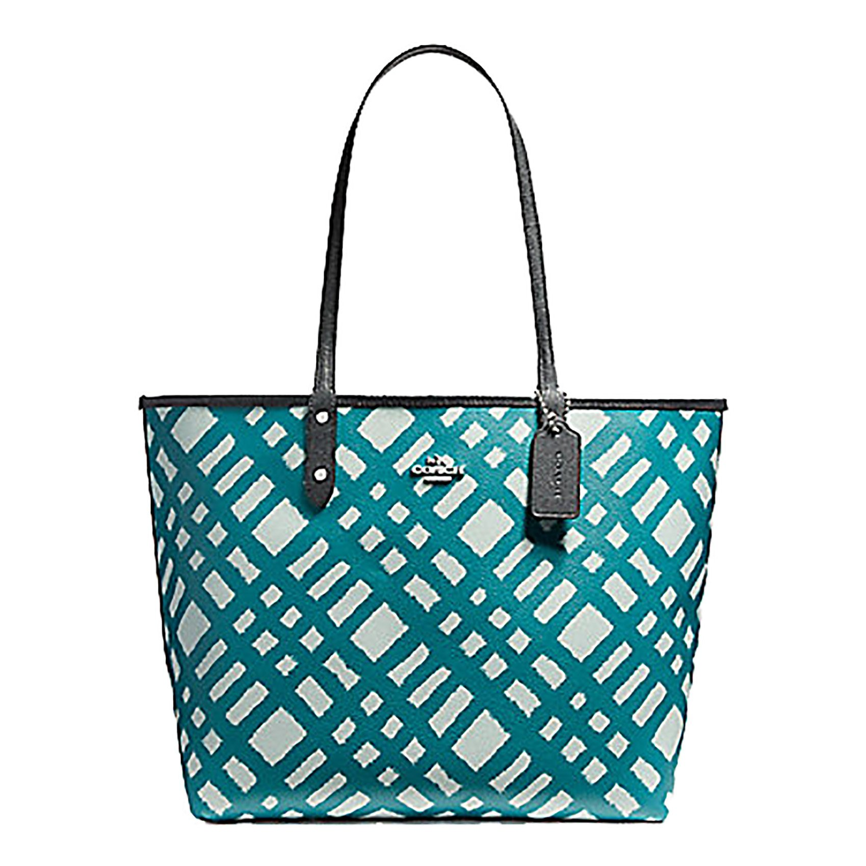 Coach Reversible Leather City Tote in Wild Plaid Print - #F22247