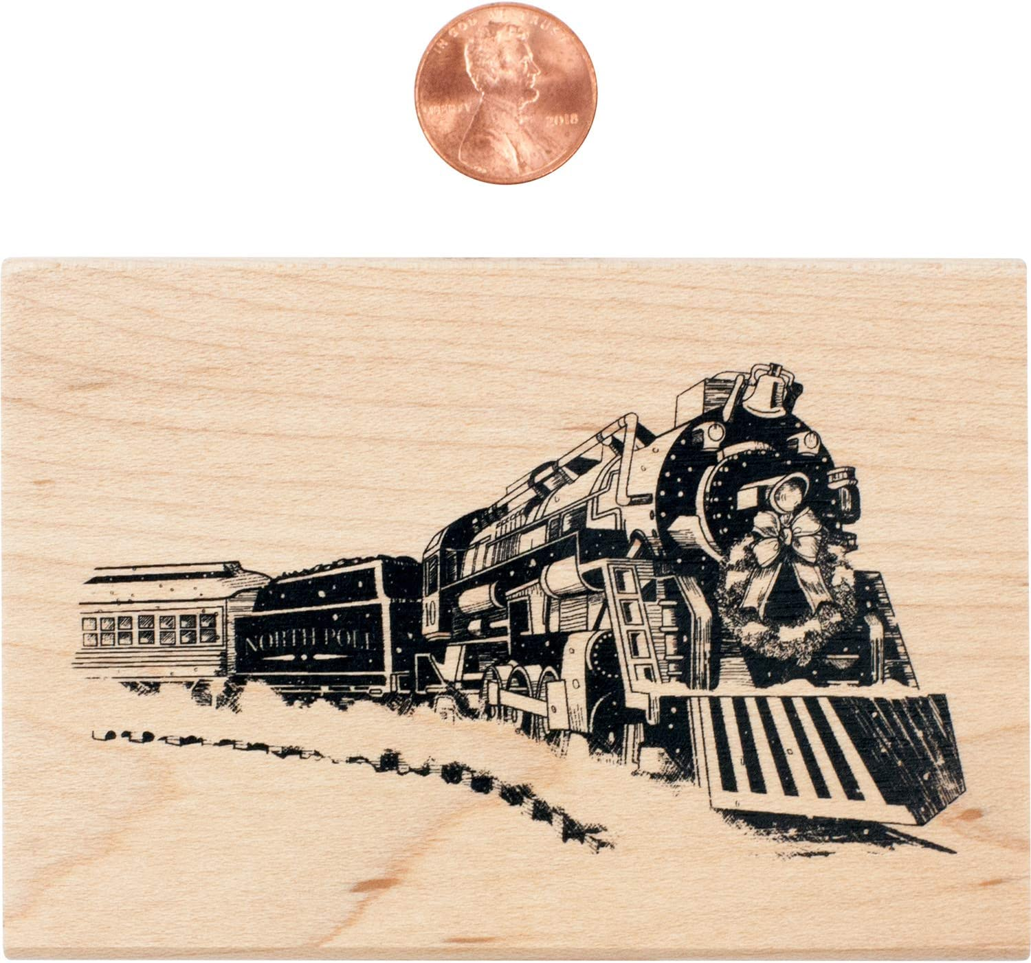 1.75 x 2.5 x 1 Inkadinkado Christmas Train Mounted Rubber Stamp for Card Making and Scrapbooking