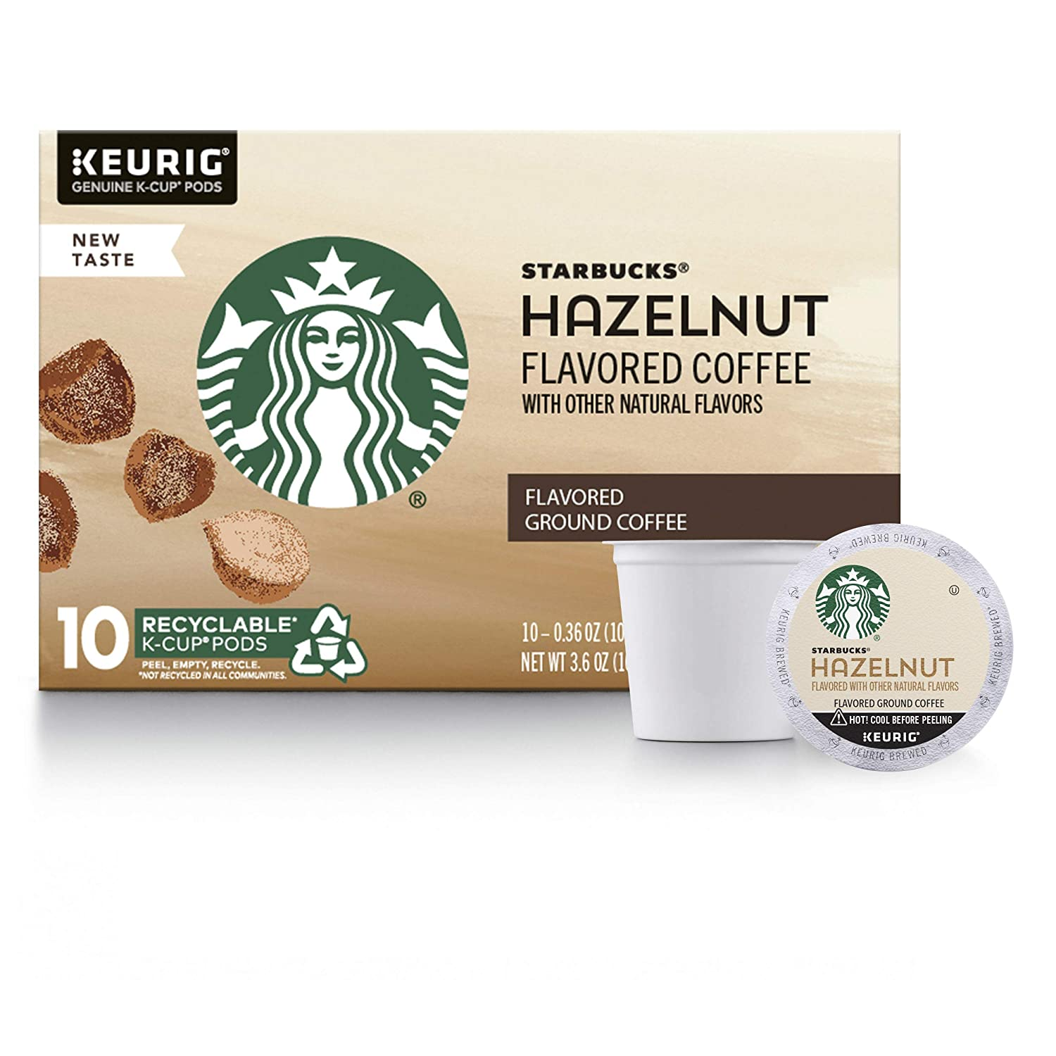 Starbucks Hazelnut Flavored Medium Roast Single Cup Coffee for Keurig Brewers, 6 Boxes of 10 (60 Total K-Cup pods)