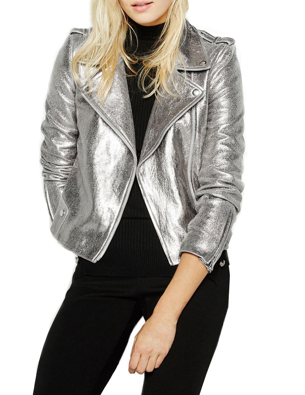 Haoduoyi Womens Causal Soft PU Metalic Silver Crop Top Biker Jacket(M,Silver)