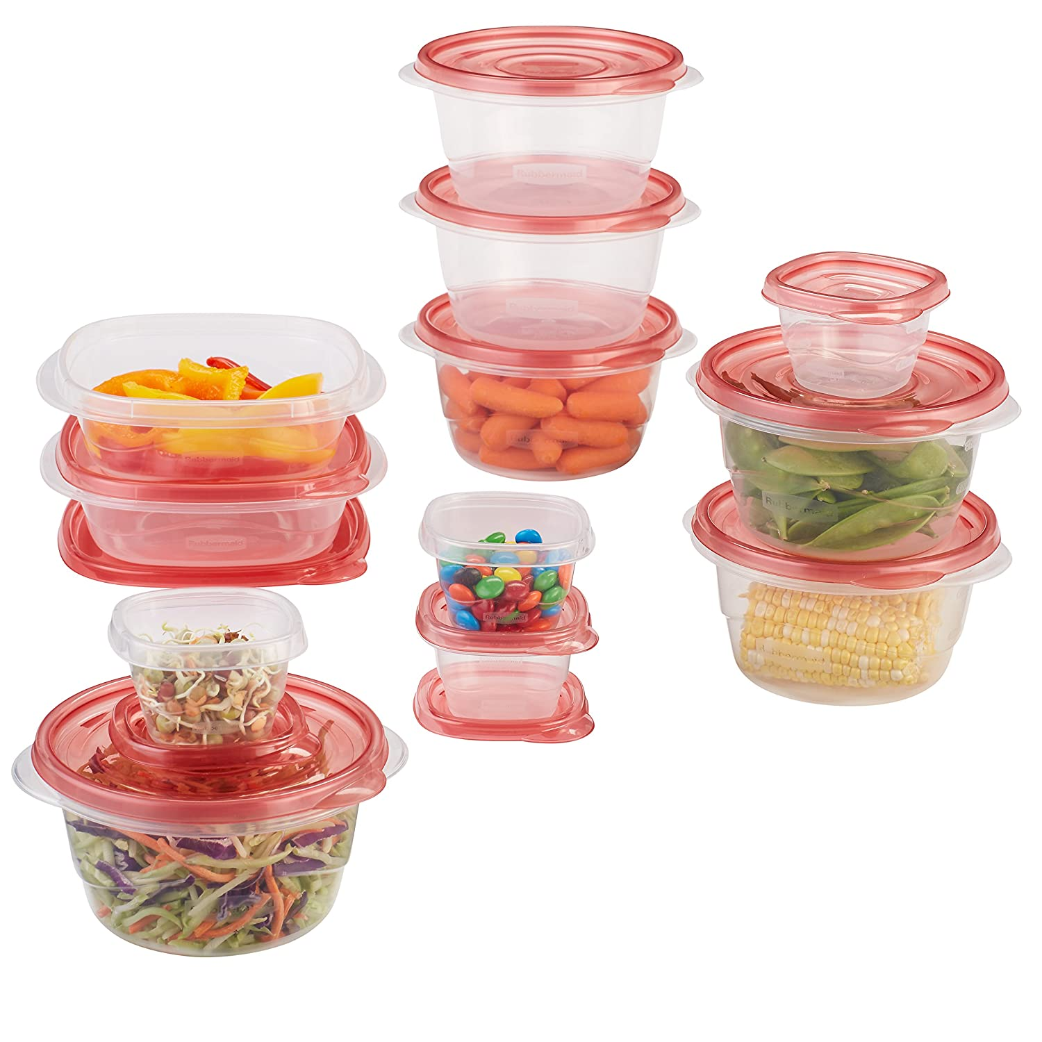 Rubbermaid TakeAlongs Assorted Food Storage Containers, Tint Chili, 12 Count 1807607