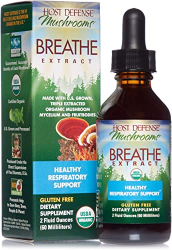 Host Defense, Breathe Extract, Respiratory Support, Mushroom Supplement with Cordyceps, Reishi and Chaga, Vegan, Organic, 2 oz 60 Servings
