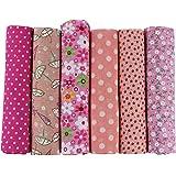 UOOOM 6 Stueck 50 x 50cm Stoffpakete Patchwork Stoffe Baumwolle tuch DIY Handgefertigte Nähen Quilten Stoff Baumwollgewebe Verschiedene Designs (Pink)