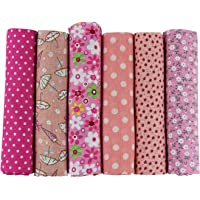 6pcs 50 x 50cm Patchwork Cotton Fabric DIY Handmade Sewing Quilting Fabric Different Designs (Tone-Pink)