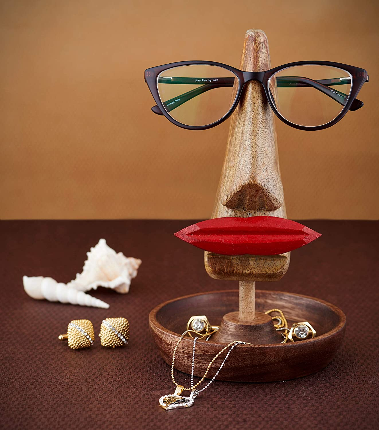 Eximious India Nose Spectacle Holder Wooden Eyeglass Stand Handmade Display Home and Office Night Stand Decor Accessories for Him or Her