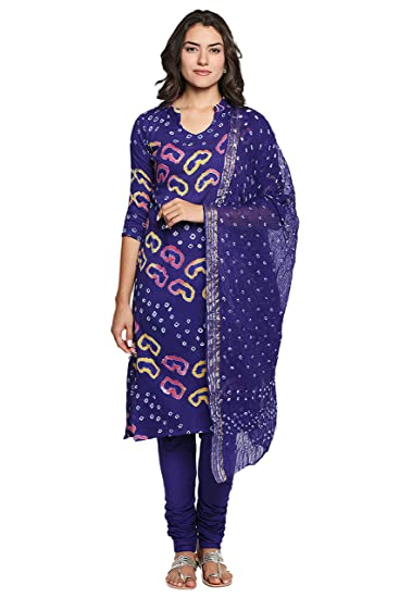 c5d58a9b8e Ishin Cotton Blue Bandhani Printed Unstitched Women's Salwar Suit Dress  Material With Dupatta: Amazon.in: Clothing & Accessories