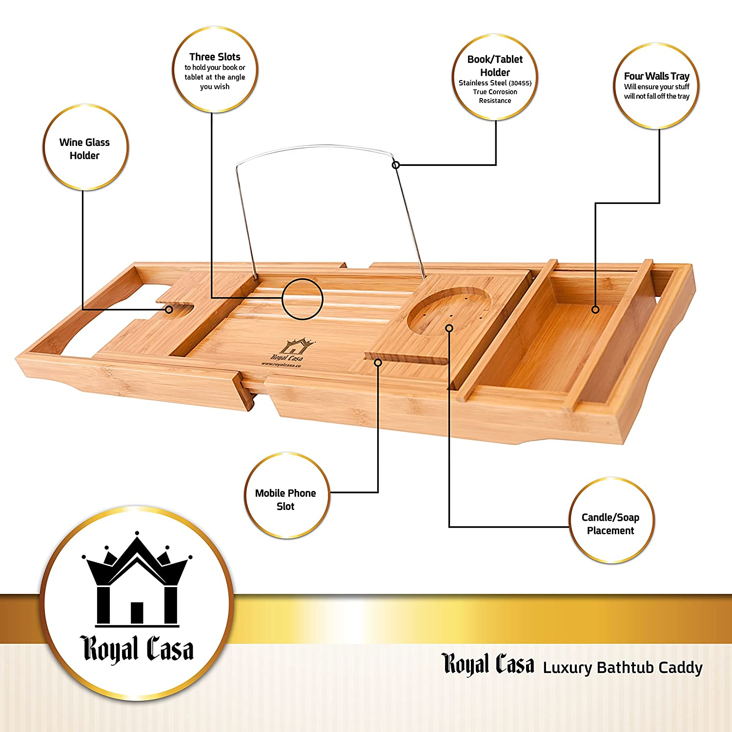 royal casa luxury bamboo bathtub caddy wooden shower
