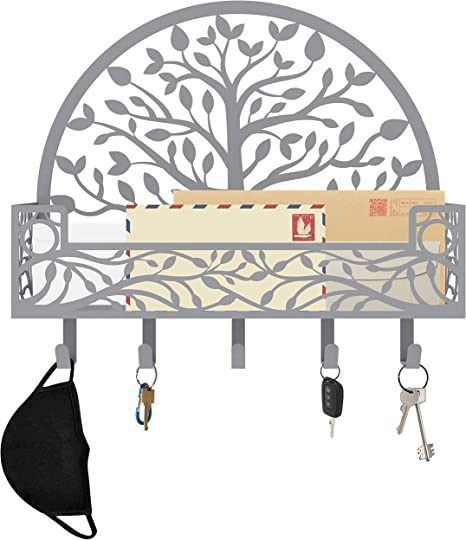 Key and Mail Organizer; Nature Inspired Family Tree Wall Decor for Entryway and Mudroom Decorative Tree of Life Design by MAXFOUNDRY; Mask Organizer Wall Mount Silver Mail and Key Holder for Wall