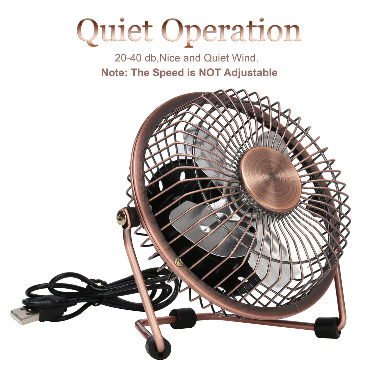 GLAMOURIC Small USB Desk Fan Mini Metal Personal Fan Retro Design Electric Portable Air Circulator Angle Adjustable Quiet Operation for Table Desktop Home Office Travel (Copper) by GLAMOURIC (Image #4)