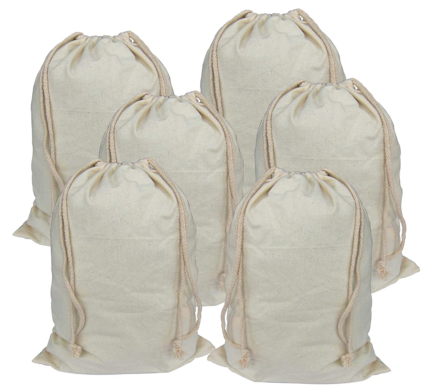 Lontenrea 6 Pcs 12x16 Inches Drawstring Cotton Muslin Bags Reusable Storage Bag (6 Pcs 12x16)