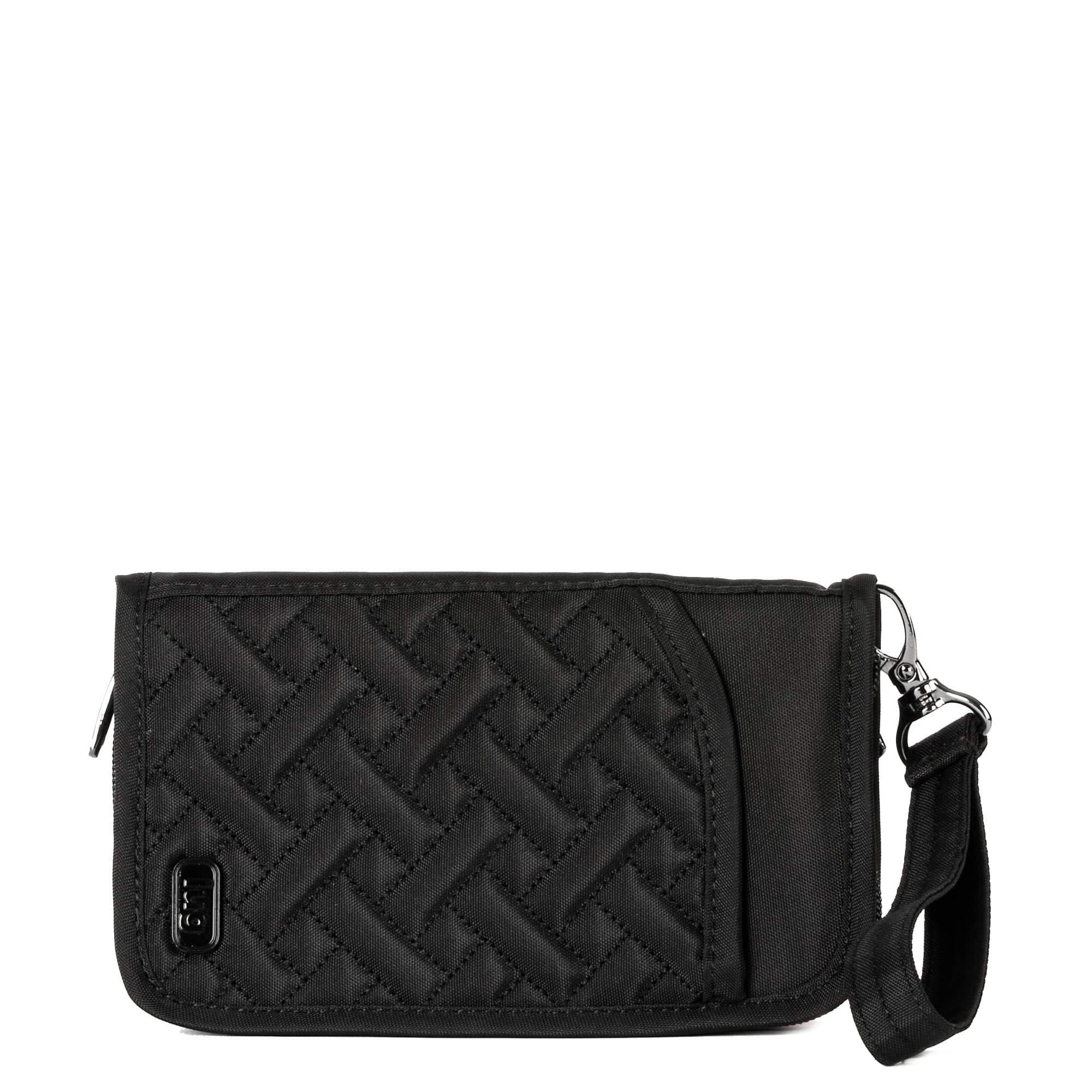 Lug Women's Tandem Zip Passport Wallet, Brushed Black