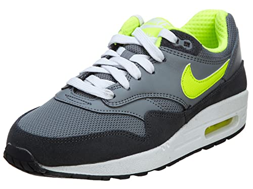 3be3fb25 NIKE Kid's Air Max 1 (GS), Cool Grey/Volt/Anthracite/White