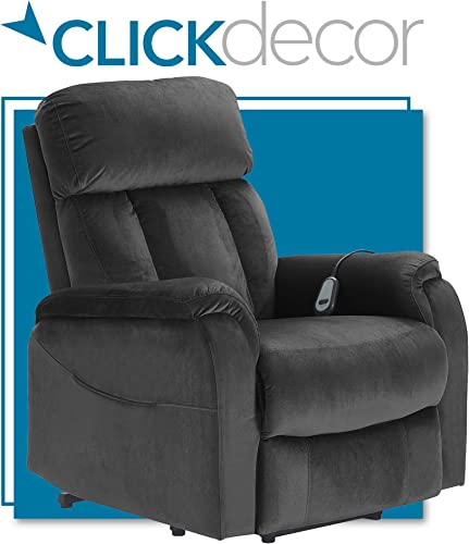 ClickDecor Samson Power Lift Recliner Sofa for Elderly Heavy Duty Motorized Living Room Chair with Side Pockets, Remote Control, Dark Gray